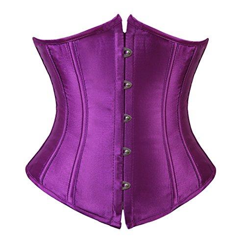 Kranchungel Women's Vintage Satin Underbust Corset Bustier Waist Cincher Bodyshaper Large Purple