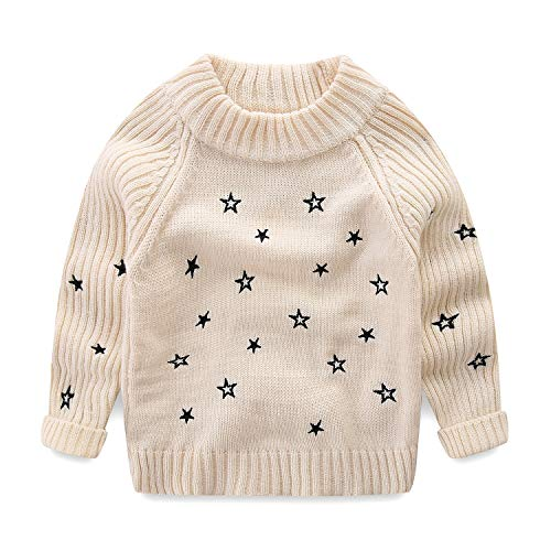 Mud Kingdom Little Girls Pullover Sweaters Cute Embroidered Stars 3T Beige ()