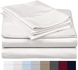 "800 Thread Count 100% Long Staple Soft Egyptian Cotton SheetSet, 4 Piece Set, QUEEN SHEETS,upto 17"" Deep Pocket, Smooth & Soft Sateen Weave, Deep Pocket, Luxury Hotel Collection Bedding, WHITE"