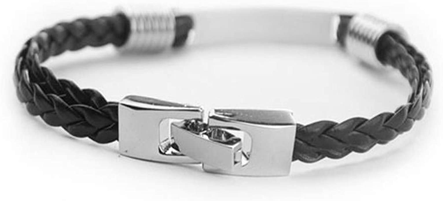 Hua Express Black Leather Wrap Stainless Steel Cuff Bangle Thin Leather Rope Wristband Bracelet