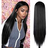 30 inches Black Lace Wigs for Women Silky Straight Long Synthetic Hair Wigs Middle Part Hairline Party Cosplay Wigs Heat Resistant Fiber Natural Looking Wig (Black)
