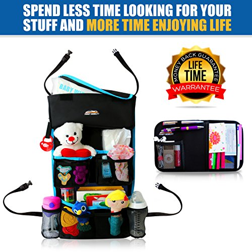 Fancy Mobility Car Backseat Organizer - Baby Accessories, Kids Small Toys & Travel Essentials Holder - Great Storage Bag for Road Trips - Perfect Baby Shower Gift - Includes Visor Organizer