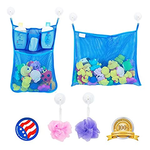 2 x Mesh Bath Toy Organizer + 6 Ultra Strong Hooks – The Perfect Net for Bathtub Toys & Bathroom Storage – These Multi-Use Organizer Bags Make Bath Toy Storage Easy – For Kids, Toddlers & - Elmos Letter