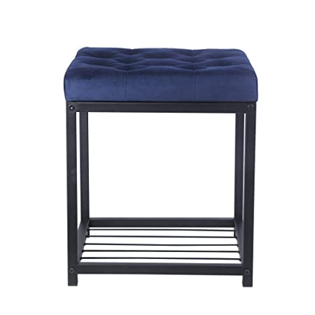 GIA Square Tufted Ottoman End Table with Storage, Blue