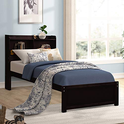 - Merax Twin Platform Bed Frame Wood with Headboard and Storage Bookcase, Solid Wood Support, No Box Spring Needed,Espresso