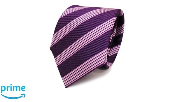 Diseñador corbata de seda - morado violeta rosa plata rayas ...