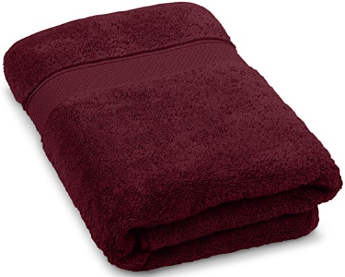 Premium Quality Turkish Bath Towels. Super Soft, Plush and Highly Absorbent. Luxury 100% Ringspun Cotton 30x56 inches Large Bath Towels for Bathroom, Gym, and Pool.By Maura (Burgundy)