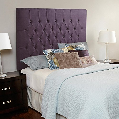 Humble and Haute Humble + Haute Halifax Iris Purple Linen Tall Diamond Tufted Upholstered Headboard Queen (Tall Headboard Queen)