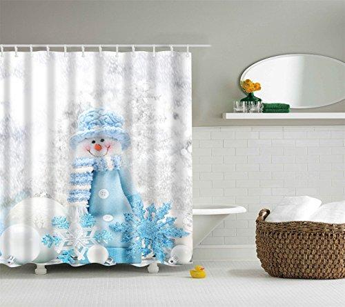 gongli3352 Snowman Standing in The Snow Wearing A Blue Hat Scarf 3D Digital Printing Moisture Proof Mildew Bathroom Curtain 180X180CM+12 Hook ()