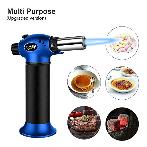 Teepao Kitchen Culinary Torch, Small Mini Cooking Blow butane Torch lighters Portable Professional Refillable Chef blowing Torch for Creme Brulee, BBQ, DIY, Stove, Cooking, Baking,Travel by