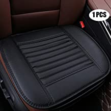 EDEALYN Four Seasons General Pu Leather Bamboo Charcoal Breathable Car Interior Seat Cushion Cover Pad Mat for Auto Car Supplies,1 PCS (Black)