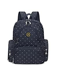 S-ZONE 16 Pockets Baby Diaper Bag Organizer Water Resistant Oxford Fabric Travel Backpack with Changing Pad and Stroller Straps (Dark Blue Dot)