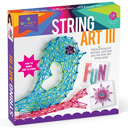 Craft-tastic - String Art Kit - Craft Kit Makes 3 Large String Art Canvases - Bird Edition -