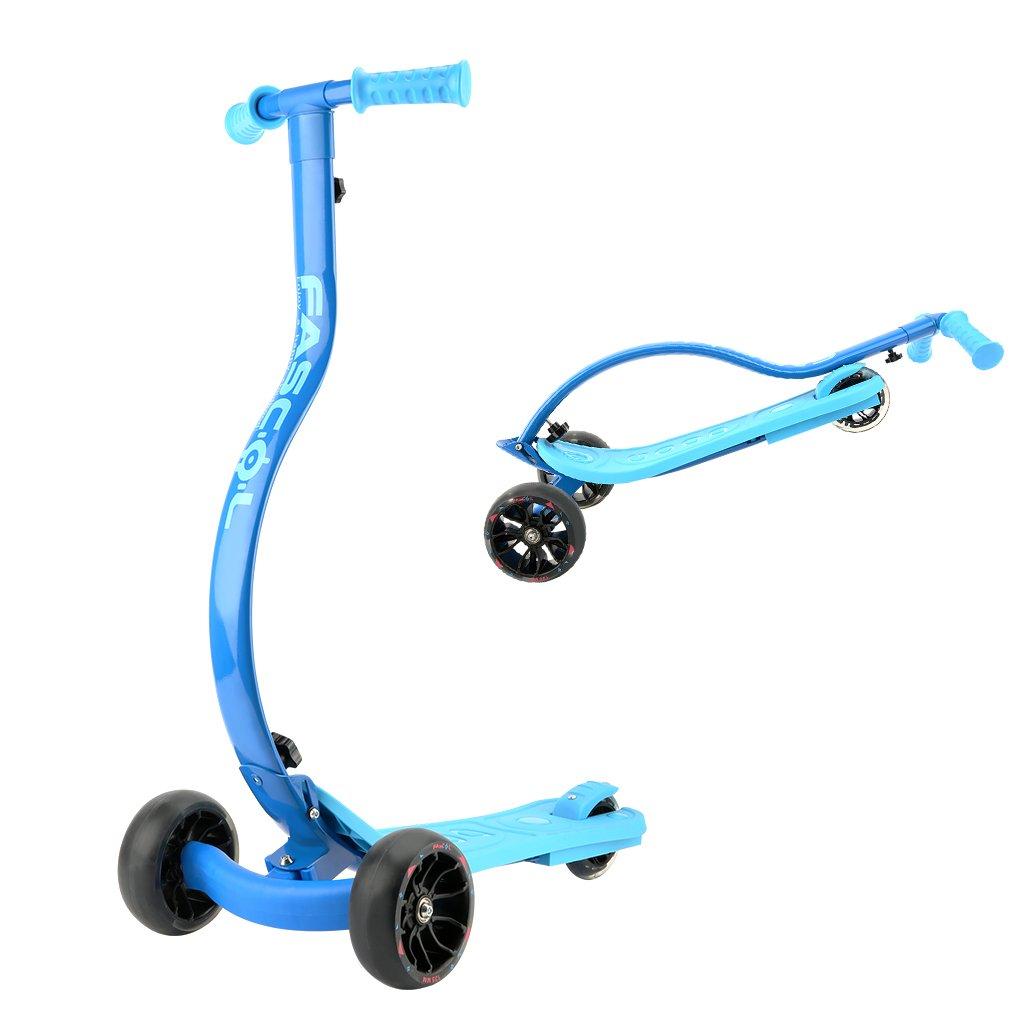 Fascol Patinete Scooter Plegable de 3 Luminosas Ruedas Grandes(13.5cm de Rueda) para 4 a 10 Años de Niños, MAX Carga 60 kg,Azul