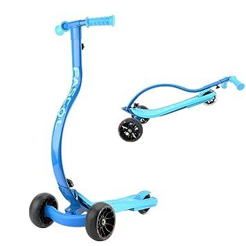 Fascol Scooter Patinete Plegable con 3 Ruedas para Niños de 4 a 10 Años,Azul