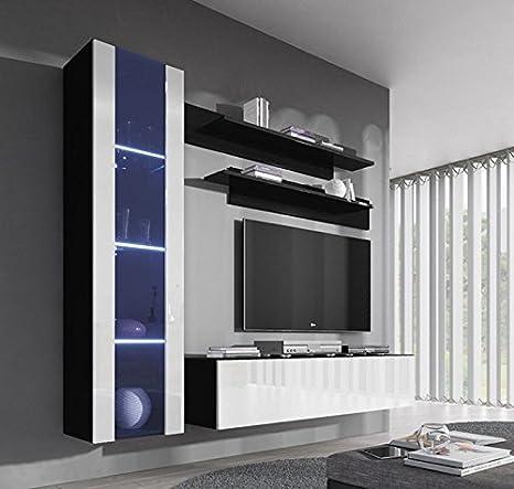 Conjunto Muebles de sal/ón Nora Blanco Modelo G2 con luz LED