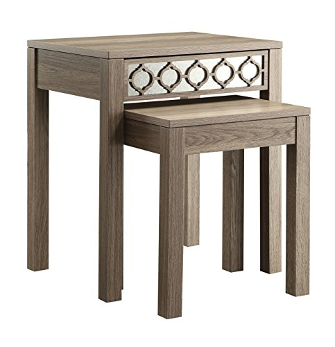 Office Star Helena 2-Piece Nesting Tables with Mirror Accent Panel, Greco Oak Finish - 2 Piece Oak Desk
