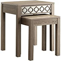 Office Star Helena 2-Piece Nesting Tables with Mirror Accent Panel, Greco Oak Finish