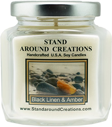 Premium 100% Soy Wax Candle - 6 - oz. Hex Jar- Scent:Black linen and amber is a unisex fragrance w/ notes of fresh cotton w/ rounded w/ cashmere, amber, and patchouli. Infused w/natural essential oils.