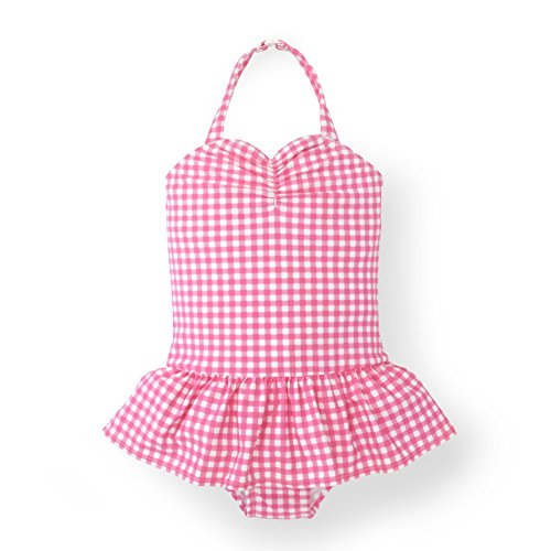 Hope & Henry Girls' Ruched Pink Gingham One-Piece Swimsuit - Gingham Girls Swimsuit