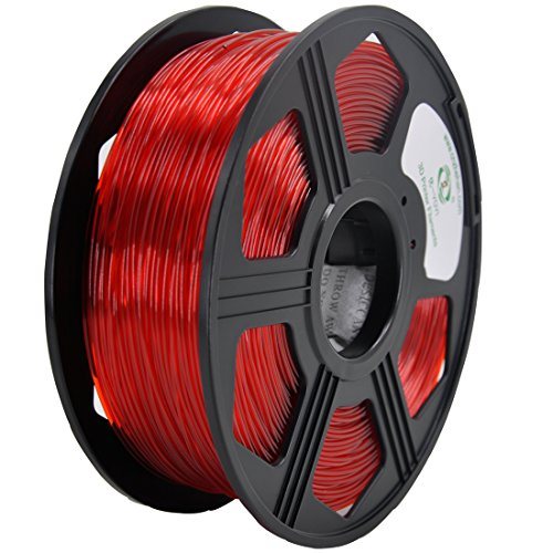 YOYI 3D PETG 1KG 1.75mm Transparent Red PETG 3D Printer Filament, Diameter Tolerance +/- 0.05 mm, 1 KG Spool, 1.75 mm, Transparent Red