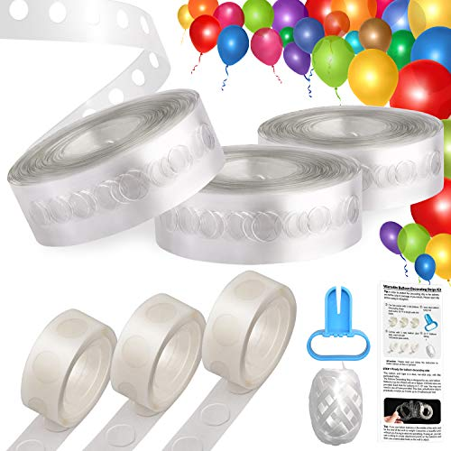 Balloon Decorating Strips, UPGRADED VERSION Balloon Arch Tape 3 rolls Total 48 FT Garland Decorating Strip + 3 Rolls Balloon Glue Dots + Balloon Tying Device + 32FT String + -