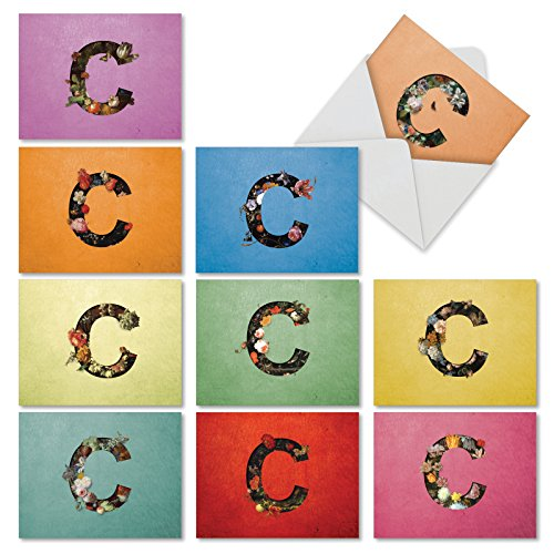 BAROQUE BLOOMS C: 10 Assorted Blank All Occasions Notecards Featuring Beautiful Baroque Styled Floral Monogrammed Images of the Letter C, With Envelopes. (Letter Note Card)
