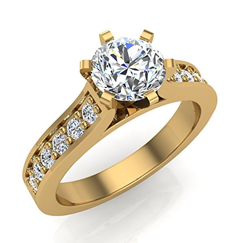 Diamonds Cathedral Cut (1 Carat Round Cut Accented Cathedral Style Diamond Engagement Ring for Women 14k Yellow Gold (Ring Size 4))