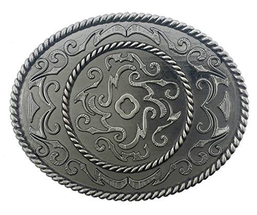 Floral Belt Buckle Western design decorative Fashion Costume Unisex Silver Metal