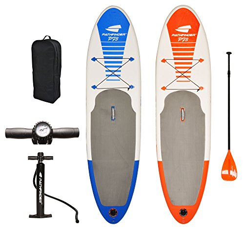 Pathfinder Inflatable SUP Stand Up Paddle Board, Complete KIT: Board, Fin, Pump, Paddle, Carry Bag