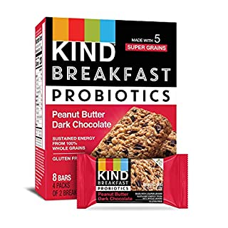 KIND Breakfast Probiotic Bars, Peanut Butter Dark Chocolate, 32 Count