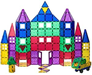 Playmags 100 + 18 Piece Set: Now with Stronger Magnets, Sturdy,Super Durable with Vivid Clear Color Tiles. 18 piece Clickins Accessories to Enhance your Creativity