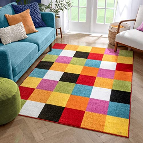 Modern Squares Multi Geometric Area Rug 8×10 7'10″ x 10'6″ Abstract Checkerborad Boxes Bright Living Kid RoomPlayroom Nursery Bedroom Carpet Soft Durable Stain Fade Resistant Shed Free Easy Clean