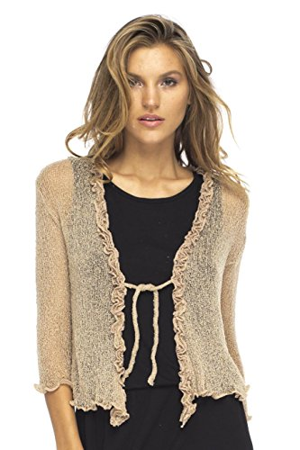 Back From Bali Womens Sheer Shrug Cardigan Sweater Ruffle Lightweight Knit  Mocca One (Fair Night Light)