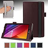 ASUS ZenPad C 7.0 Case - e-PlanetPro Premium PU Leather Folio Stand Cover for ASUS ZenPad C 7.0 (Z170C / Z170CG / Z170MG) 7-inch Android Tablet with Hand Strap, Credit Cards/ID holders, Smart holder for Stylus/Pen, Secure elastic strap closure! BROWN
