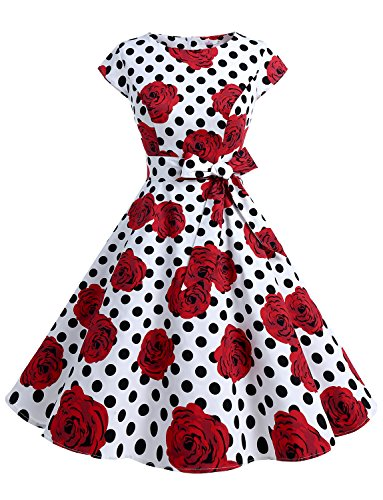 Dressystar DS1956 Women Vintage 1950s Retro Rockabilly Prom Dresses Cap-Sleeve M White Black Rose -
