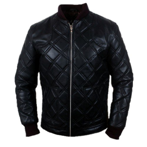 Leather Jacket for MEN DAVID BECKHAM STYLE BLACK FULL QUILTED LEATHER JACKET RETRO VINTAGE SIZE XS-5XL (L)