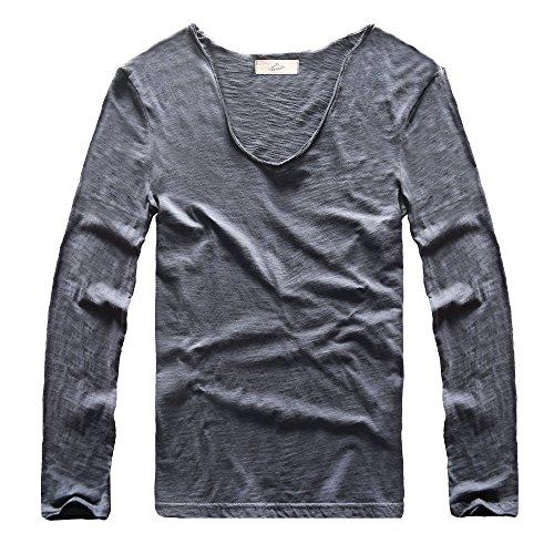 Zecmos Mens Long Sleeve V Neck T-Shirt Slim-fit Man Tee Top LZB-Navy XL (Sleeve Long Distressed Tee)