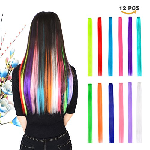 Hair Extension Pieces - 12 Pieces Party Highlights Clip in Colored Hair Extensions for Kids Girls Colorful Hair Extensions 22 inches Straight Synthetic Hairpieces 12 Multi-Colors