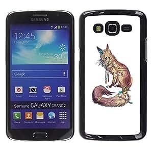 Be Good Phone Accessory // Dura Cáscara cubierta Protectora Caso Carcasa Funda de Protección para Samsung Galaxy Grand 2 SM-G7102 SM-G7105 // White Nature Animal Red Minimalist