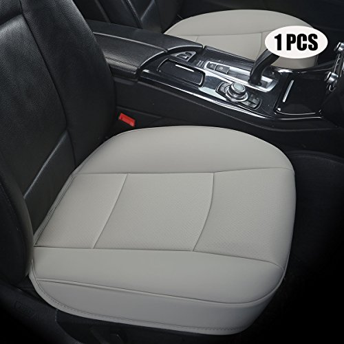 EDEALYN Ultra-luxury PU leather Car Seat cushion car seat cover For Most Four-door sedan&SUV,Single seat without backrest 1pcs(W20.5× D21×T 0.35 inch) (3D - Gray)