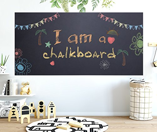 "Chalkboard Contact Paper - 17.7"" x 78.7"" Large Chalkboard Sticker Wall Decal with 5 Bonus Colored Chalks. Self Adhesive Blackboard Banner for Classroom, Kitchen, Office. Black Chalk Vinyl Wallpaper"