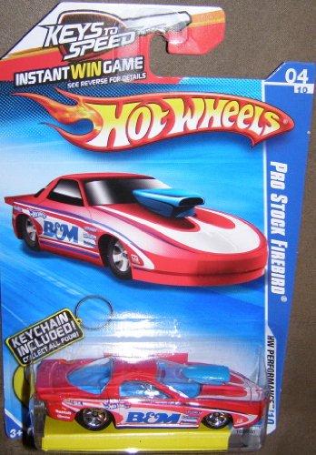 (2010 HOT WHEELS 102/240 HW PERFORMANCE 04/10 KEYS TO SPEED CARD RED PRO STOCK FIREBIRD KEYCHAIN CARS 4/4)