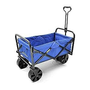 Summates Collapsible Folding Utility Wagon ,Garden cart,outdoor,shopping (Black Frame+Blue Fabric)