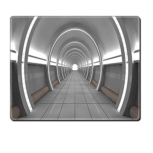 Price comparison product image Mouse Pad Unique Custom Printed Mousepad Outer Space Decor Galactic Place With Oval Shaped Ceiling Force Alien Life Apollo Comics Graphic Gray Stitched Edge Non Slip Rubber