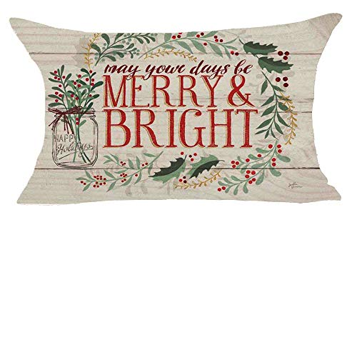 Queen's designer Merry Christmas May Your Days Be Merry and Bright Cotton Linen Decorative Throw Pillow Case Cushion Cover Square 12