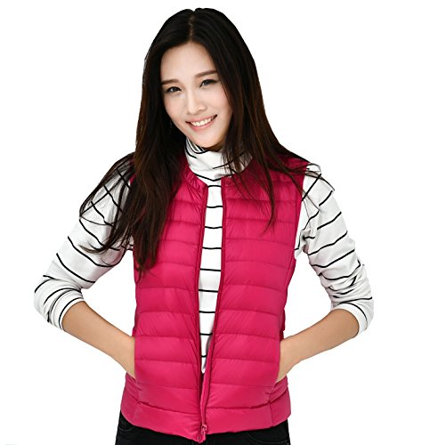 LightWeight Vest Coat Outwear Puffer Jacket Packable Women Girls Ultra Fouriding Women's Ladies Vest Sleeveless Round Down Collar for vfcEq7Wn