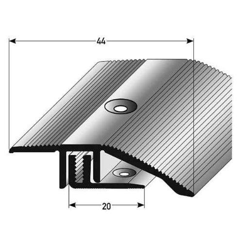 3 x 1 m Alu eloxiert Farbe: Bronze Dunkel 3 Meter gebohrt 44 mm breit 2-teilig Ausgleichsprofil Laminat/ Parkett// Ausgleichsleiste // /Übergangsprofil,H/öhe 7-15 mm
