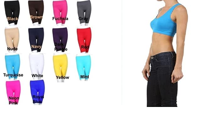 6e83274cf09 TURQUOISE Seamless Sports Bra Yoga Top Non-Padded + TURQUOISE Knee Length  Seamless Stretch Yoga Shorts: Amazon.co.uk: Clothing