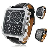 Soleasy Argus Panoptes - Men's Triple-Movement Square Dial Leather Band Quartz Analog Wrist Watch WTH1007